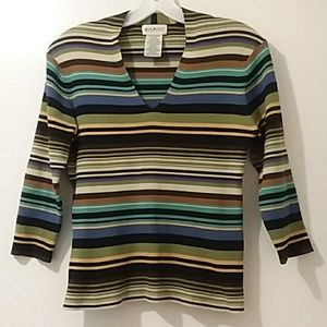 WHITE STAG  Med.(8to10) colorful striped sweater